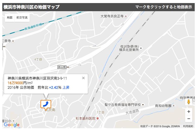 羽沢横浜国大駅の周辺の地価(2016年)